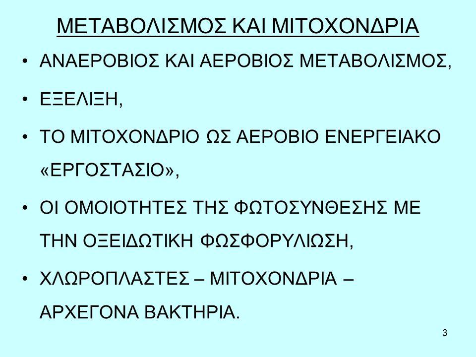 3 ΜΕΤΑΒΟΛΙΣΜΟΣ ΚΑΙ ΜΙΤΟΧΟΝΔΡΙΑ ΑΝΑΕΡΟΒΙΟΣ ΚΑΙ ΑΕΡΟΒΙΟΣ ΜΕΤΑΒΟΛΙΣΜΟΣ, ΕΞΕΛΙΞΗ, ΤΟ ΜΙΤΟΧΟΝΔΡΙΟ ΩΣ ΑΕΡΟΒΙΟ ΕΝΕΡΓΕΙΑΚΟ «ΕΡΓΟΣΤΑΣΙΟ», ΟΙ ΟΜΟΙΟΤΗΤΕΣ ΤΗΣ ΦΩΤ
