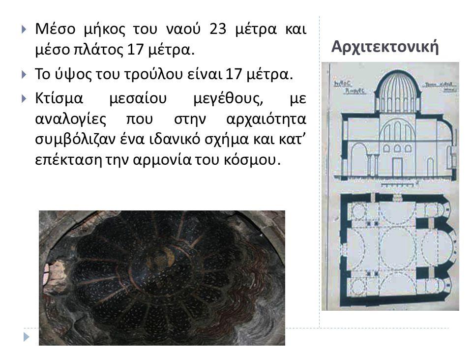 Αρχιτεκτονική  Μέσο μήκος του ναού 23 μέτρα και μέσο πλάτος 17 μέτρα.  Το ύψος του τρούλου είναι 17 μέτρα.  Κτίσμα μεσαίου μεγέθους, με αναλογίες π