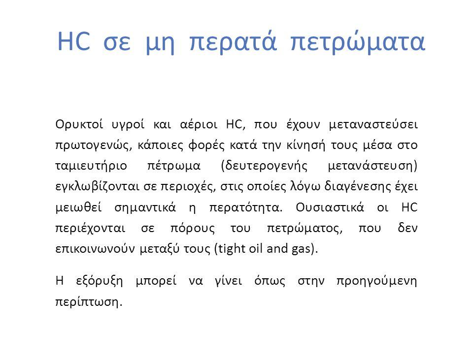 HC σε μη περατά πετρώματα Ορυκτοί υγροί και αέριοι HC, που έχουν μεταναστεύσει πρωτογενώς, κάποιες φορές κατά την κίνησή τους μέσα στο ταμιευτήριο πέτρωμα (δευτερογενής μετανάστευση) εγκλωβίζονται σε περιοχές, στις οποίες λόγω διαγένεσης έχει μειωθεί σημαντικά η περατότητα.