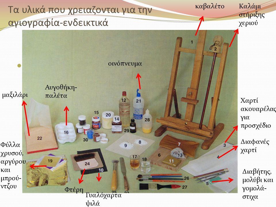 Τα υλικά που χρειαζονται για την αγιογραφία-ενδεικτικά καβαλέτοΚαλάμι στήριξης χεριού Χαρτί ακουαρέλας για προσχέδιο Διαφανές χαρτί Διαβήτης, μολύβι κ