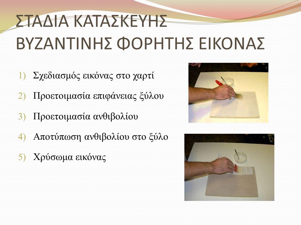 ΣΤΑΔΙΑ ΚΑΤΑΣΚΕΥΗΣ ΒΥΖΑΝΤΙΝΗΣ ΦΟΡΗΤΗΣ ΕΙΚΟΝΑΣ 1) Σχεδιασμός εικόνας στο χαρτί 2) Προετοιμασία επιφάνειας ξύλου 3) Προετοιμασία ανθιβολίου 4) Αποτύπωση