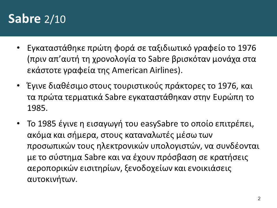 Sabre 2/10 Εγκαταστάθηκε πρώτη φορά σε ταξιδιωτικό γραφείο το 1976 (πριν απ'αυτή τη χρονολογία το Sabre βρισκόταν μονάχα στα εκάστοτε γραφεία της American Airlines).