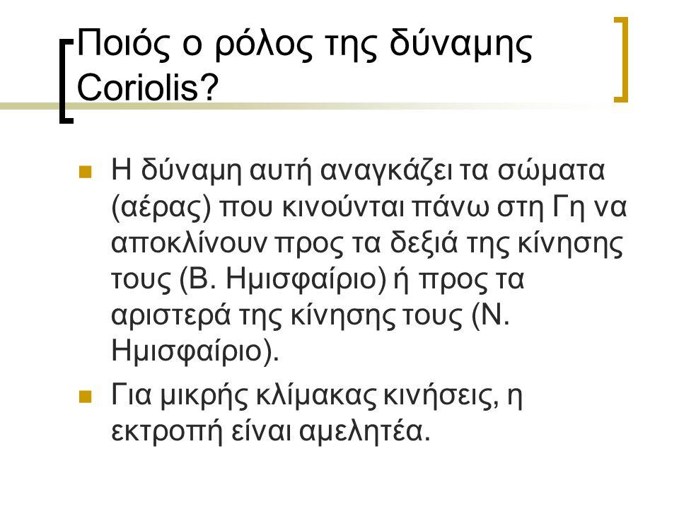 3. Δύναμη Coriolis Φυσική Γ' Λυκείου:  Σε κάθε σώμα που κινείται σε σχέση με σύστημα αναφοράς, που περιστρέφεται, αναπτύσσεται μια δύναμη αδράνειας π
