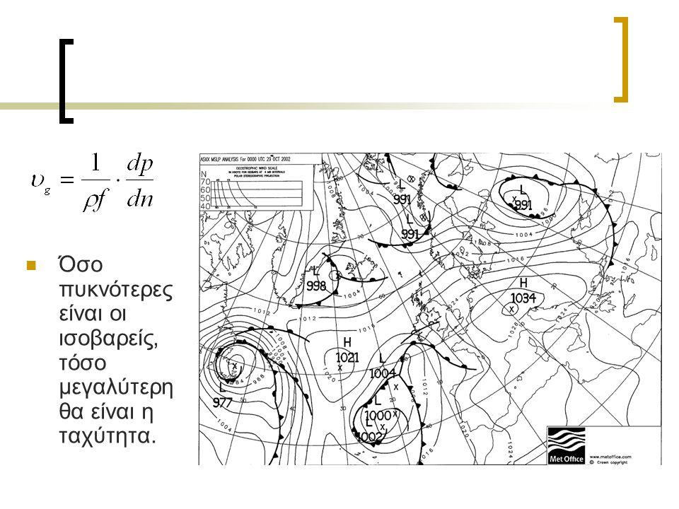 f: παράμετρος Coriolis ρ: πυκνότητα αέρα dp/dn: οριζόντια βαθμίδα της πιέσεων κατά μήκος της καθέτου προς τις ισοβαρείς
