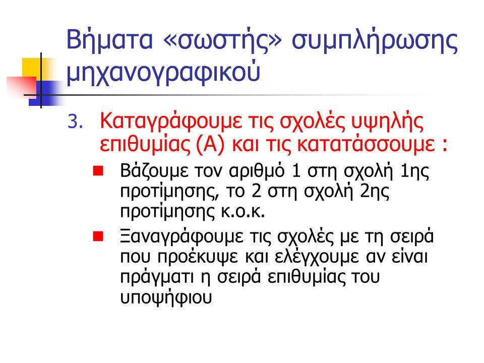 Βήματα «σωστής» συμπλήρωσης μηχανογραφικού 3. Καταγράφουμε τις σχολές υψηλής επιθυμίας (Α) και τις κατατάσσουμε : Βάζουμε τον αριθμό 1 στη σχολή 1ης π