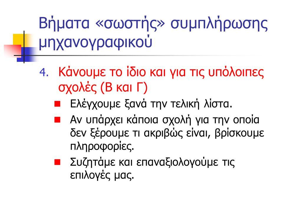 Βήματα «σωστής» συμπλήρωσης μηχανογραφικού 4. Κάνουμε το ίδιο και για τις υπόλοιπες σχολές (Β και Γ) Ελέγχουμε ξανά την τελική λίστα. Αν υπάρχει κάποι