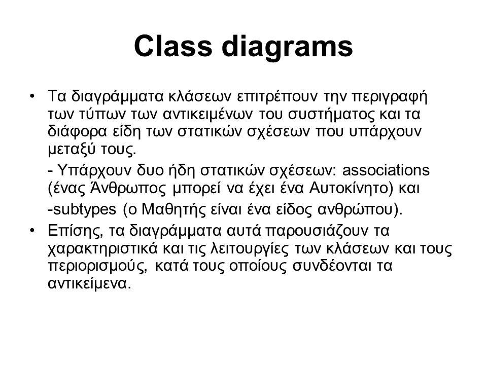 Class diagrams Τα διαγράμματα κλάσεων επιτρέπουν την περιγραφή των τύπων των αντικειμένων του συστήματος και τα διάφορα είδη των στατικών σχέσεων που υπάρχουν μεταξύ τους.