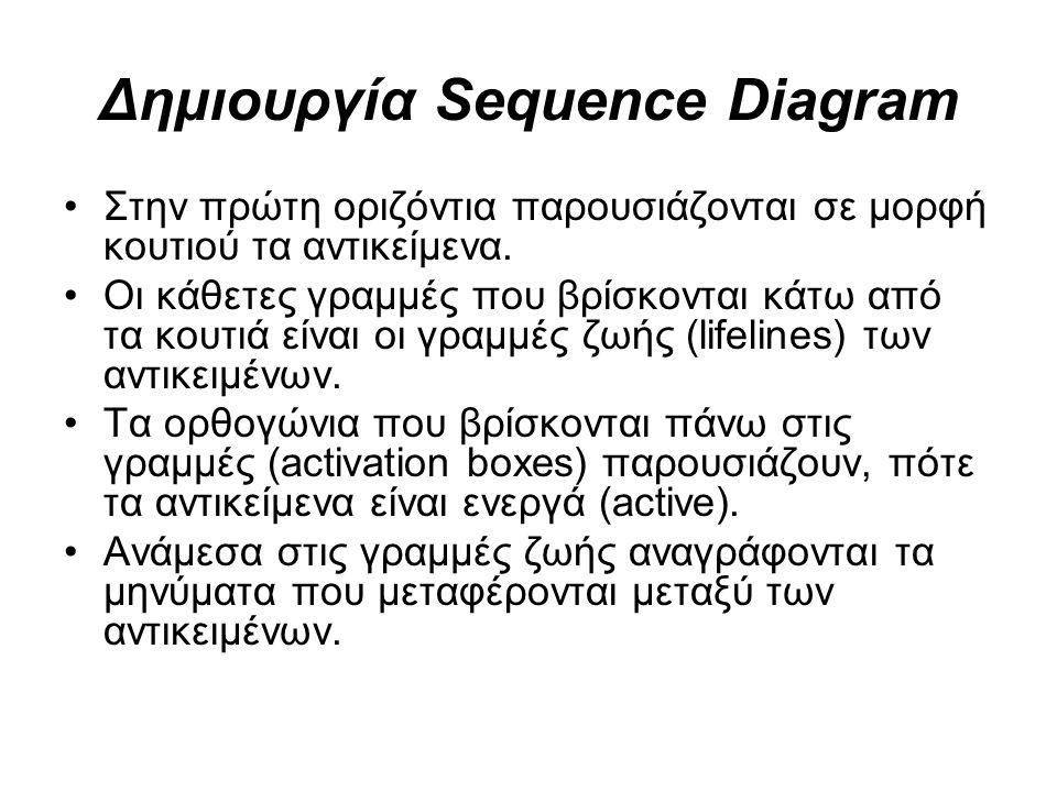 Στην πρώτη οριζόντια παρουσιάζονται σε μορφή κουτιού τα αντικείμενα. Οι κάθετες γραμμές που βρίσκονται κάτω από τα κουτιά είναι οι γραμμές ζωής (lifel