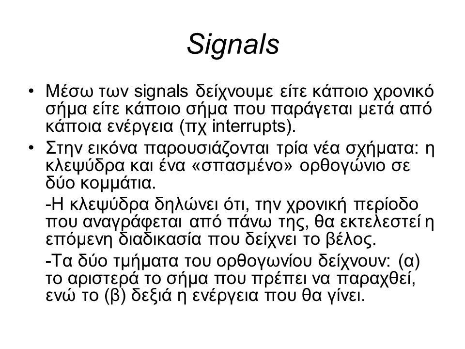 Signals Μέσω των signals δείχνουμε είτε κάποιο χρονικό σήμα είτε κάποιο σήμα που παράγεται μετά από κάποια ενέργεια (πχ interrupts).