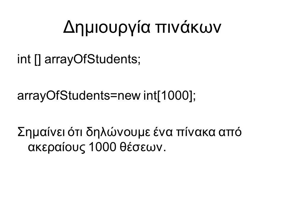 Δημιουργία πινάκων int [] arrayOfStudents; arrayOfStudents=new int[1000]; Σημαίνει ότι δηλώνουμε ένα πίνακα από ακεραίους 1000 θέσεων.