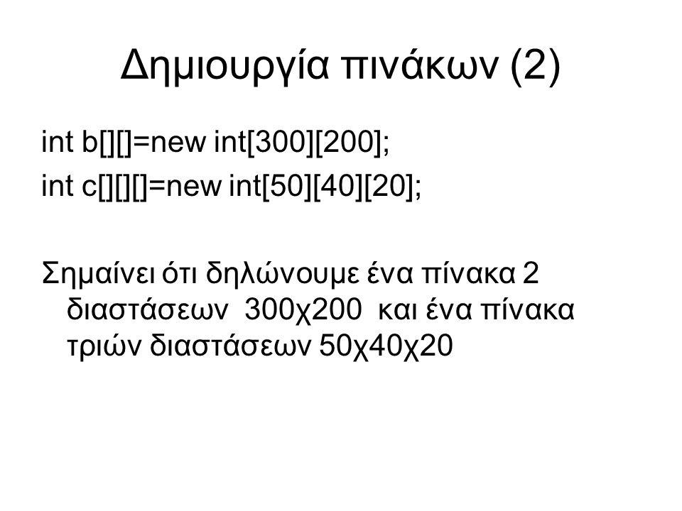Δημιουργία πινάκων (2) int b[][]=new int[300][200]; int c[][][]=new int[50][40][20]; Σημαίνει ότι δηλώνουμε ένα πίνακα 2 διαστάσεων 300χ200 και ένα πίνακα τριών διαστάσεων 50χ40χ20