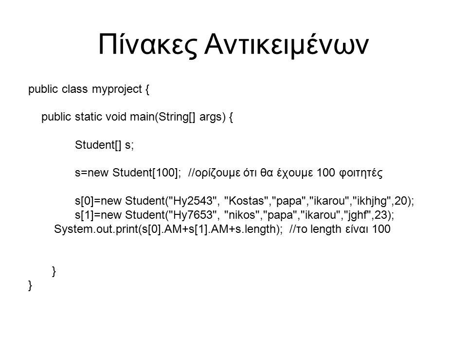 Πίνακες Αντικειμένων public class myproject { public static void main(String[] args) { Student[] s; s=new Student[100]; //ορίζουμε ότι θα έχουμε 100 φοιτητές s[0]=new Student( Hy2543 , Kostas , papa , ikarou , ikhjhg ,20); s[1]=new Student( Hy7653 , nikos , papa , ikarou , jghf ,23); System.out.print(s[0].AM+s[1].AM+s.length); //το length είναι 100 }