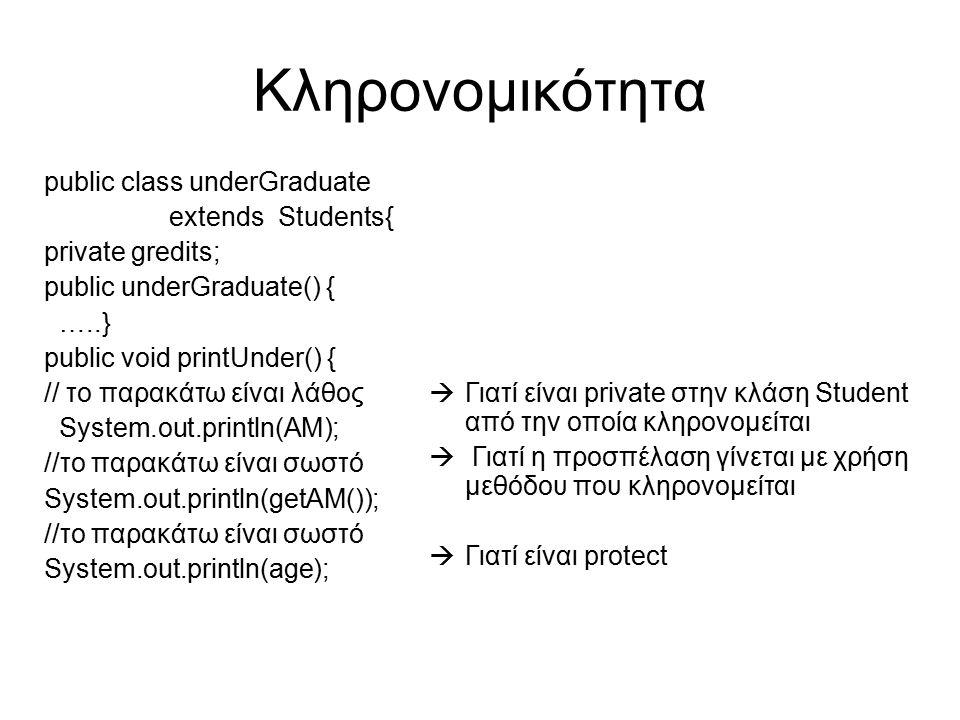 Κληρονομικότητα public class underGraduate extends Students{ private gredits; public underGraduate() { …..} public void printUnder() { // το παρακάτω είναι λάθος System.out.println(ΑΜ); //το παρακάτω είναι σωστό System.out.println(getAM()); //το παρακάτω είναι σωστό System.out.println(age);  Γιατί είναι private στην κλάση Student από την οποία κληρονομείται  Γιατί η προσπέλαση γίνεται με χρήση μεθόδου που κληρονομείται  Γιατί είναι protect