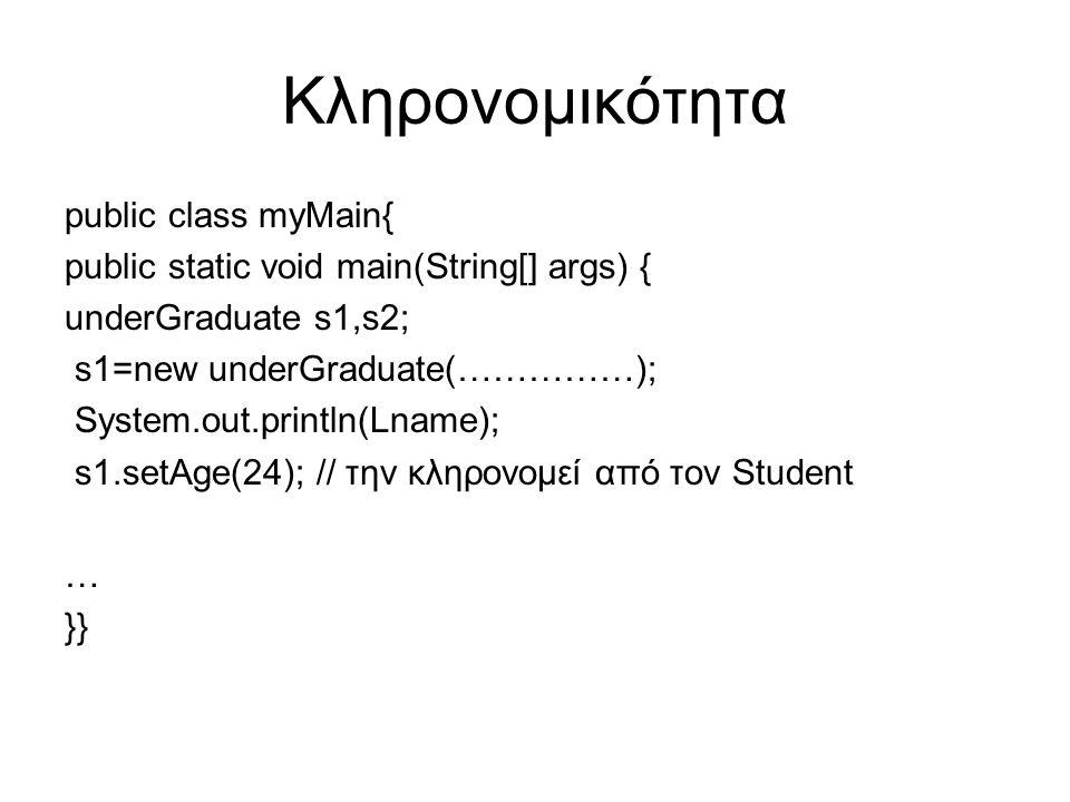 Κληρονομικότητα public class myMain{ public static void main(String[] args) { underGraduate s1,s2; s1=new underGraduate(……………); System.out.println(Lname); s1.setAge(24); // την κληρονομεί από τον Student … }}