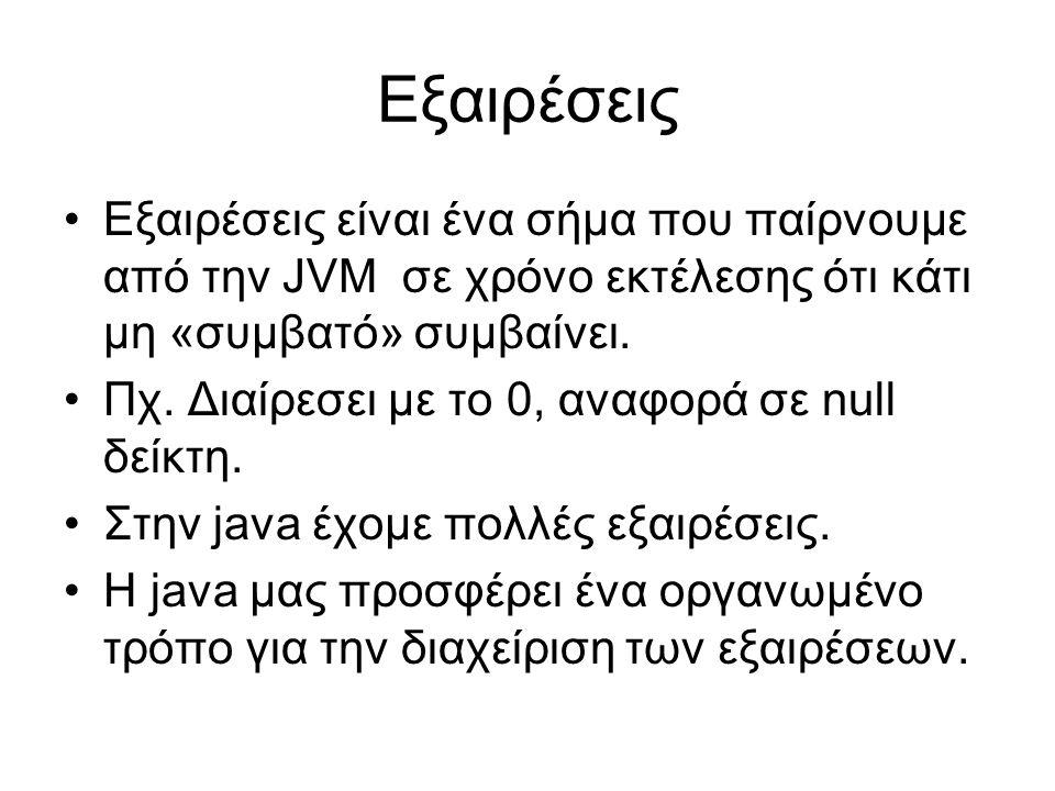 Εξαιρέσεις Εξαιρέσεις είναι ένα σήμα που παίρνουμε από την JVM σε χρόνο εκτέλεσης ότι κάτι μη «συμβατό» συμβαίνει. Πχ. Διαίρεσει με το 0, αναφορά σε n