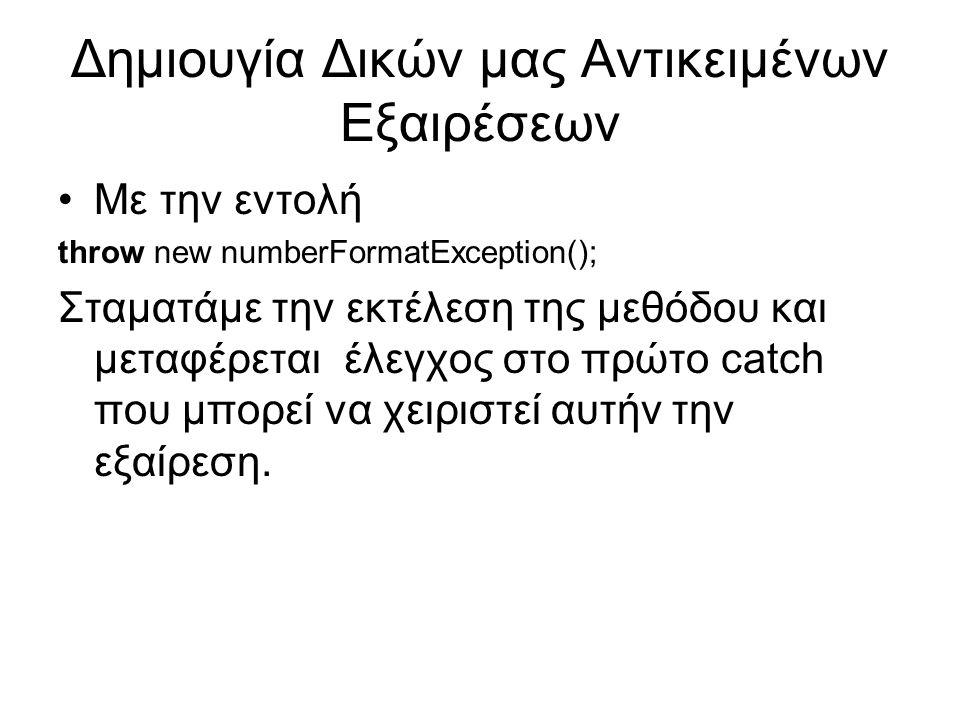 Δημιουγία Δικών μας Αντικειμένων Εξαιρέσεων Με την εντολή throw new numberFormatException(); Σταματάμε την εκτέλεση της μεθόδου και μεταφέρεται έλεγχος στο πρώτο catch που μπορεί να χειριστεί αυτήν την εξαίρεση.