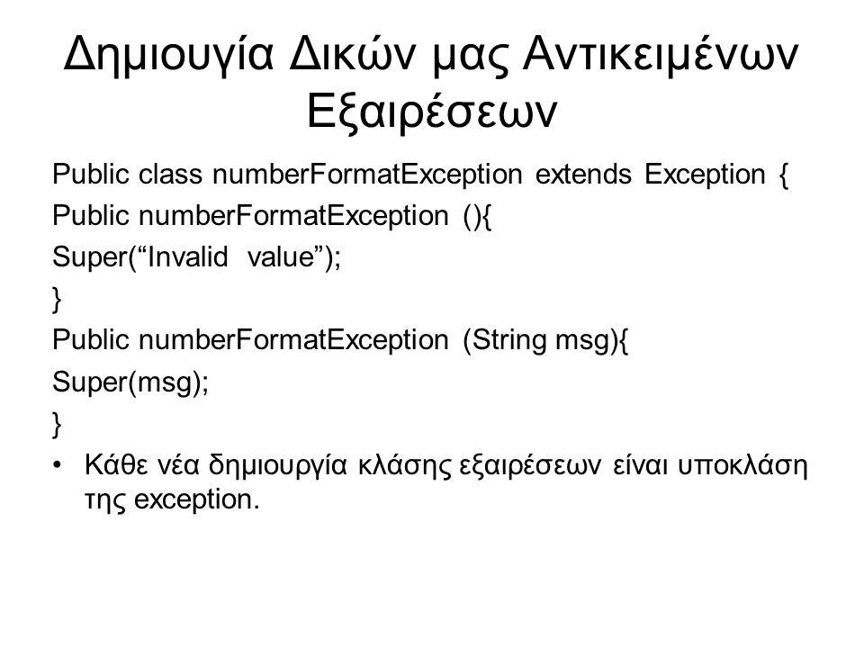 Δημιουγία Δικών μας Αντικειμένων Εξαιρέσεων Public class numberFormatException extends Exception { Public numberFormatException (){ Super( Invalid value ); } Public numberFormatException (String msg){ Super(msg); } Κάθε νέα δημιουργία κλάσης εξαιρέσεων είναι υποκλάση της exception.