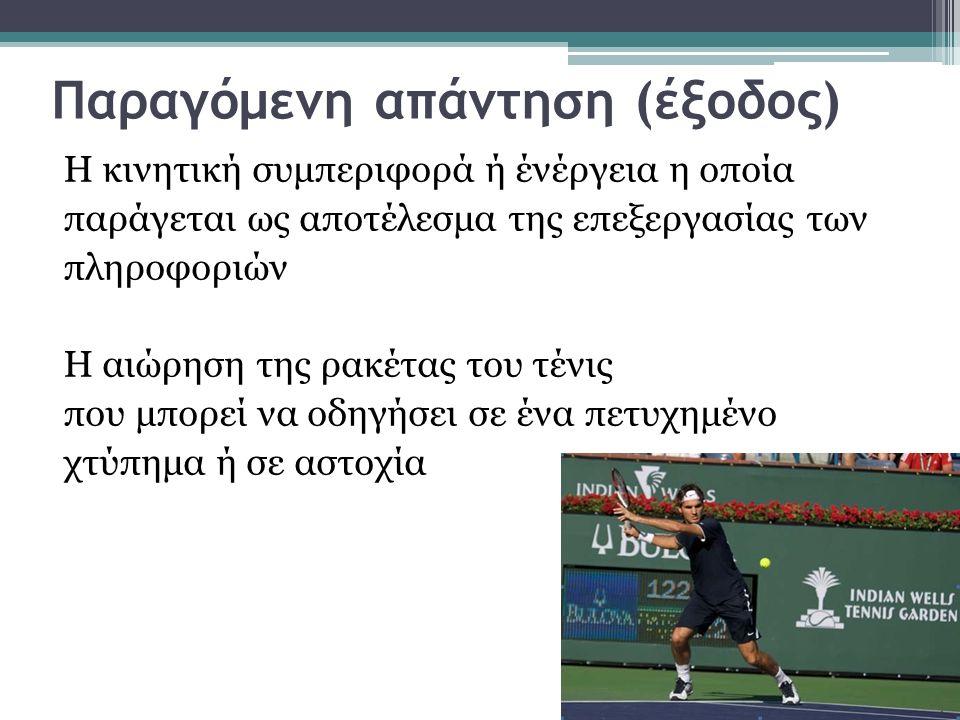 Παραγόμενη απάντηση (έξοδος) Η κινητική συμπεριφορά ή ένέργεια η οποία παράγεται ως αποτέλεσμα της επεξεργασίας των πληροφοριών Η αιώρηση της ρακέτας του τένις που μπορεί να οδηγήσει σε ένα πετυχημένο χτύπημα ή σε αστοχία