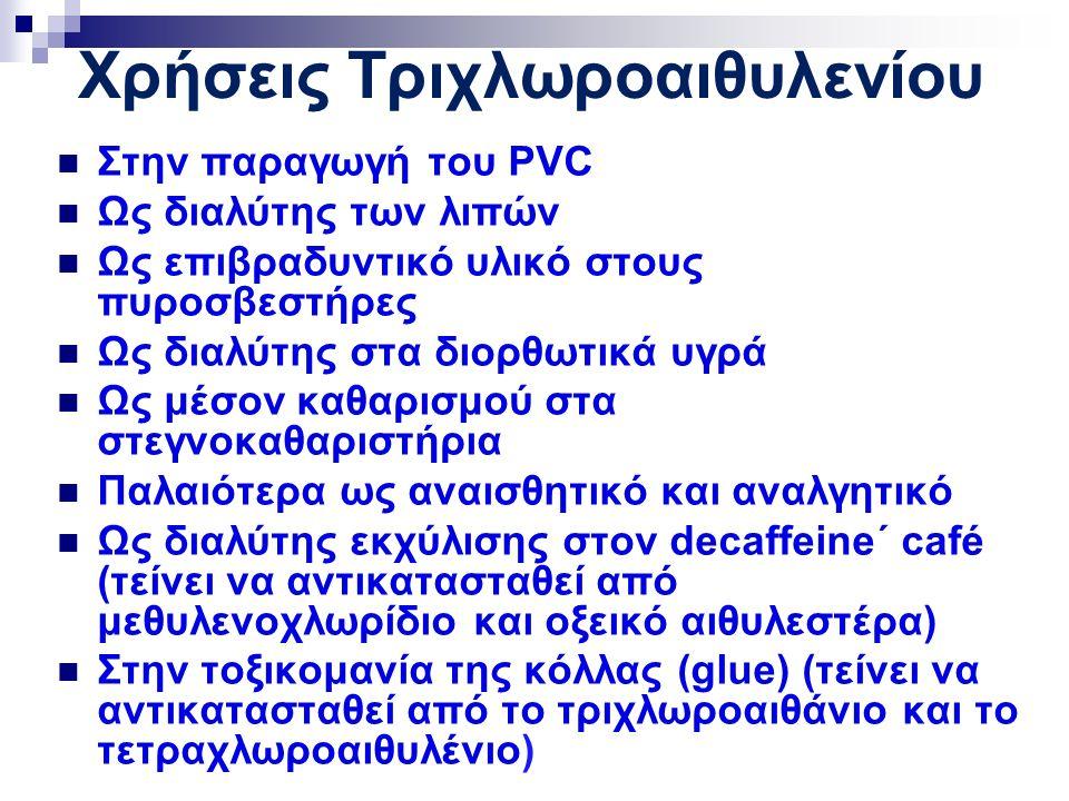 Χρήσεις Τριχλωροαιθυλενίου Στην παραγωγή του PVC Ως διαλύτης των λιπών Ως επιβραδυντικό υλικό στους πυροσβεστήρες Ως διαλύτης στα διορθωτικά υγρά Ως μέσον καθαρισμού στα στεγνοκαθαριστήρια Παλαιότερα ως αναισθητικό και αναλγητικό Ως διαλύτης εκχύλισης στον decaffeine΄ café (τείνει να αντικατασταθεί από μεθυλενοχλωρίδιο και οξεικό αιθυλεστέρα) Στην τοξικομανία της κόλλας (glue) (τείνει να αντικατασταθεί από το τριχλωροαιθάνιο και το τετραχλωροαιθυλένιο)