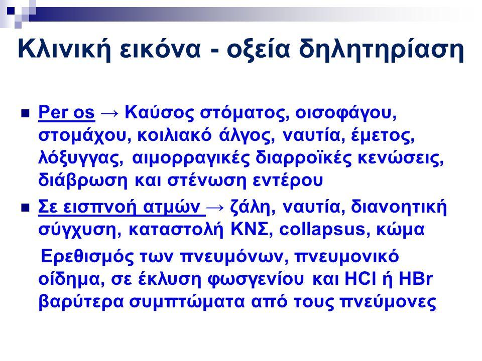 Κλινική εικόνα - οξεία δηλητηρίαση Per os → Καύσος στόματος, οισοφάγου, στομάχου, κοιλιακό άλγος, ναυτία, έμετος, λόξυγγας, αιμορραγικές διαρροϊκές κενώσεις, διάβρωση και στένωση εντέρου Σε εισπνοή ατμών → ζάλη, ναυτία, διανοητική σύγχυση, καταστολή ΚΝΣ, collapsus, κώμα Ερεθισμός των πνευμόνων, πνευμονικό οίδημα, σε έκλυση φωσγενίου και HCl ή HBr βαρύτερα συμπτώματα από τους πνεύμονες