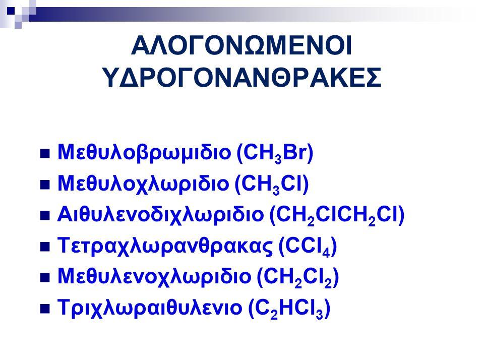 ΑΛΟΓΟΝΩΜΕΝΟΙ ΥΔΡΟΓΟΝΑΝΘΡΑΚΕΣ Μεθυλοβρωμιδιο (CH 3 Br) Μεθυλοχλωριδιο (CH 3 Cl) Αιθυλενοδιχλωριδιο (CH 2 ClCH 2 Cl) Τετραχλωρανθρακας (CCl 4 ) Μεθυλενοχλωριδιο (CH 2 Cl 2 ) Τριχλωραιθυλενιο (C 2 HCl 3 )