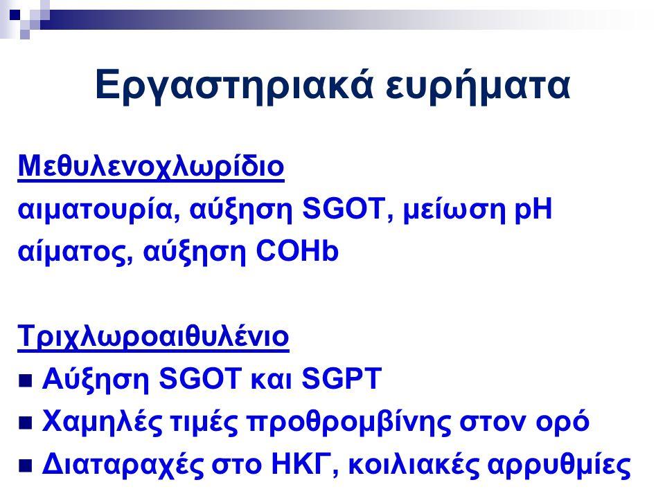 Εργαστηριακά ευρήματα Μεθυλενοχλωρίδιο αιματουρία, αύξηση SGOT, μείωση pH αίματος, αύξηση COHb Τριχλωροαιθυλένιο Αύξηση SGOT και SGPT Χαμηλές τιμές προθρομβίνης στον ορό Διαταραχές στο ΗΚΓ, κοιλιακές αρρυθμίες
