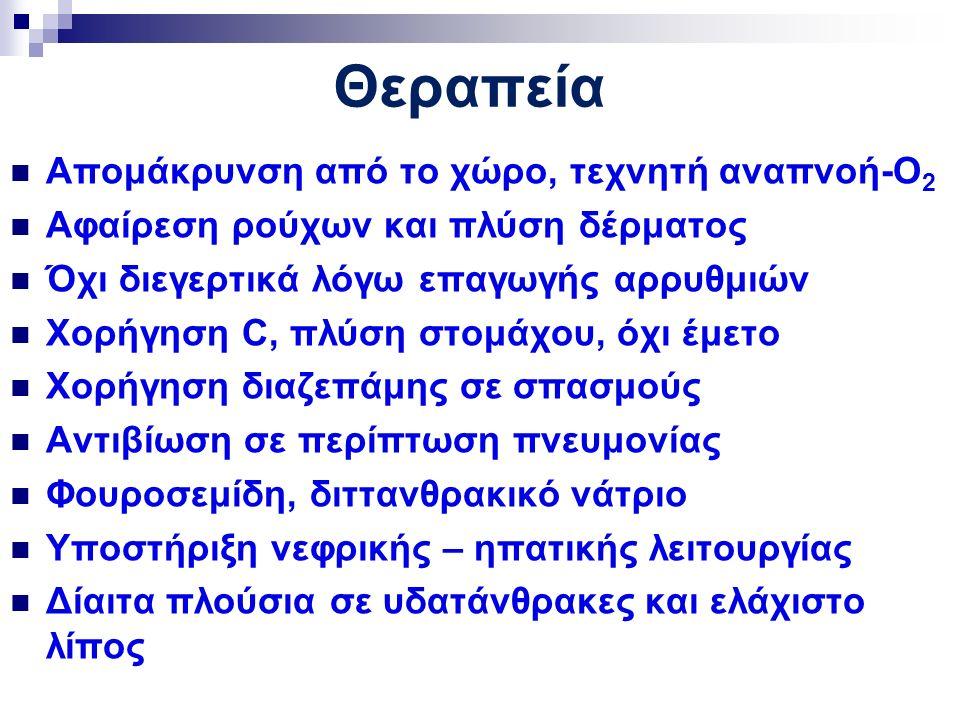 Θεραπεία Απομάκρυνση από το χώρο, τεχνητή αναπνοή-Ο 2 Αφαίρεση ρούχων και πλύση δέρματος Όχι διεγερτικά λόγω επαγωγής αρρυθμιών Χορήγηση C, πλύση στομάχου, όχι έμετο Χορήγηση διαζεπάμης σε σπασμούς Αντιβίωση σε περίπτωση πνευμονίας Φουροσεμίδη, διττανθρακικό νάτριο Υποστήριξη νεφρικής – ηπατικής λειτουργίας Δίαιτα πλούσια σε υδατάνθρακες και ελάχιστο λίπος