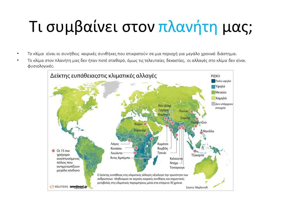 Αιτίες της κλιματικής αλλαγής Το φαινόμενο του θερμοκηπίου (αέρια κυρίως από τη χρήση καυσίμων κρατάνε τη ζεστασιά του ήλιου κοντά στη γη) Η τρύπα του όζοντος (από αεροζόλ, κλιματιστικές συσκευές, ψυγεία, πυροσβεστήρες, αεροπλάνα κ.ά.) Η μόλυνση της ατμόσφαιρας (κυρίως από εργοστάσια παραγωγής ενέργειας και άλλες βιομηχανίες) Η μόλυνση του νερού (επικίνδυνα υγρά, πλαστικά, αλουμινένια είδη, σκουπίδια, μολύνουν τα υπόγεια ύδατα, λίμνες ποτάμια και θάλασσες) Η μόλυνση του εδάφους (ρύποι στην ατμόσφαιρα, όξινη βροχή, φυτοφάρμακα, λιπάσματα) Η όξινη βροχή (από καυσαέρια αυτοκινήτων/ αεροπλάνων, βιομηχανίες) Η ρύπανση του περιβάλλοντος (όλα τα πιο πάνω και οι τεράστιες ποσότητες σκουπιδιών) Η ραδιενεργός ρύπανση (από πυρηνικά απόβλητα και πυρηνικά ατυχήματα)