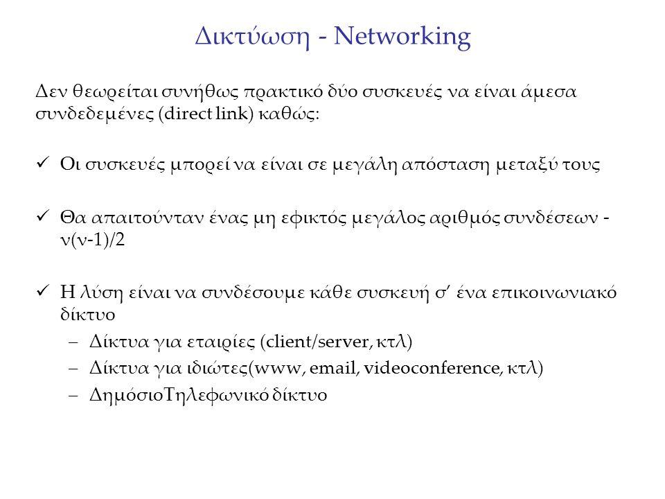 Δικτύωση - Networking Δεν θεωρείται συνήθως πρακτικό δύο συσκευές να είναι άμεσα συνδεδεμένες (direct link) καθώς: Οι συσκευές μπορεί να είναι σε μεγά