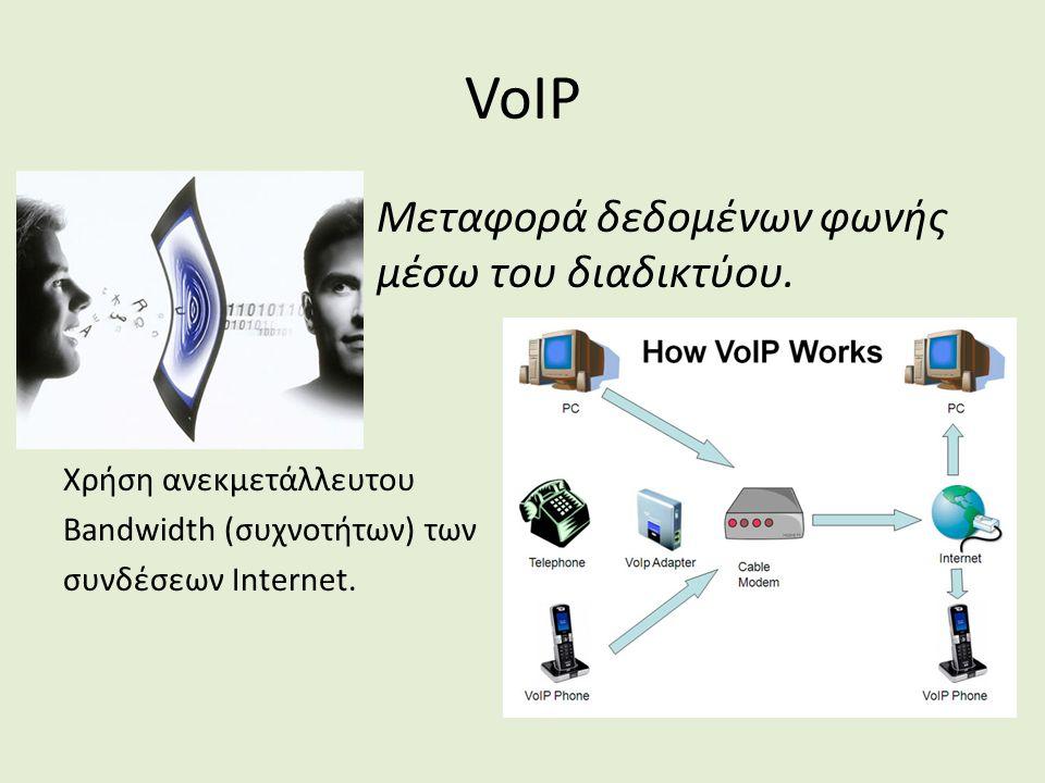 VoIP Μεταφορά δεδομένων φωνής μέσω του διαδικτύου.