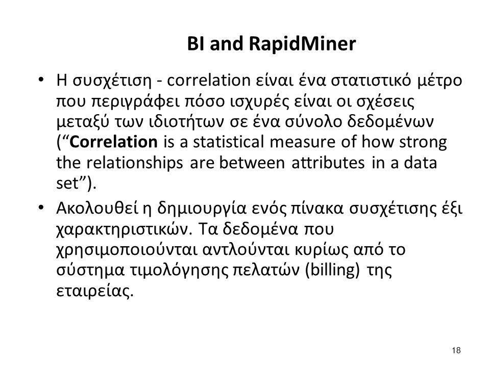 18 BI and RapidMiner Η συσχέτιση - correlation είναι ένα στατιστικό μέτρο που περιγράφει πόσο ισχυρές είναι οι σχέσεις μεταξύ των ιδιοτήτων σε ένα σύνολο δεδομένων ( Correlation is a statistical measure of how strong the relationships are between attributes in a data set ).