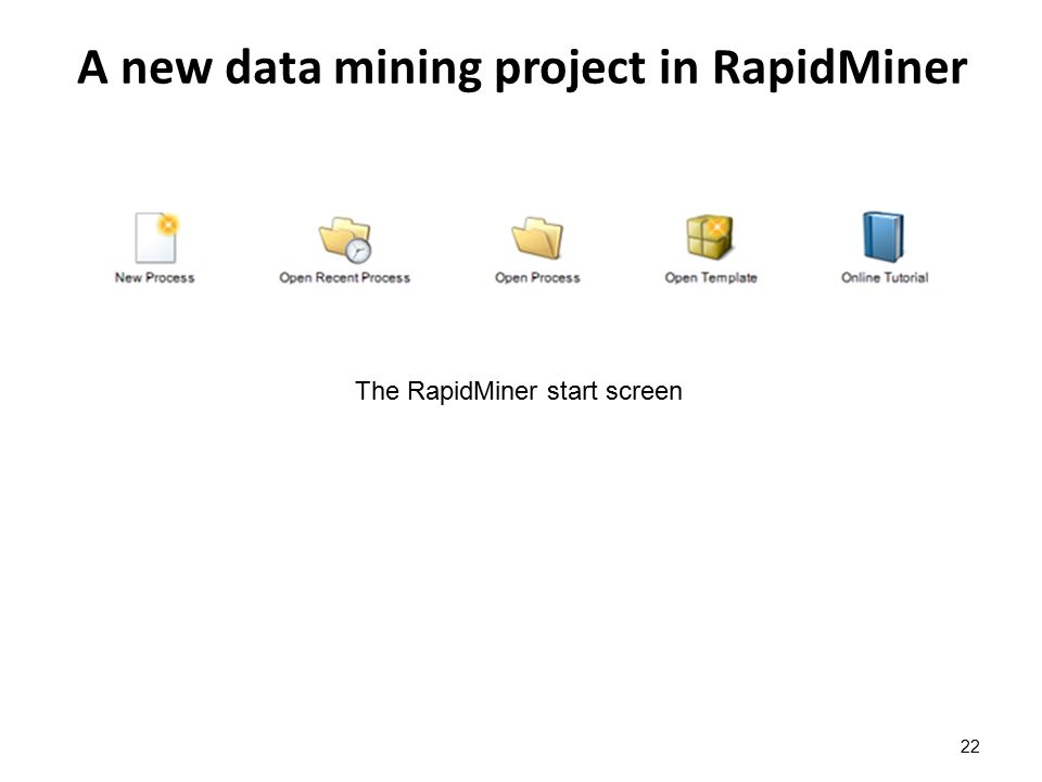 A new data mining project in RapidMiner 22 The RapidMiner start screen