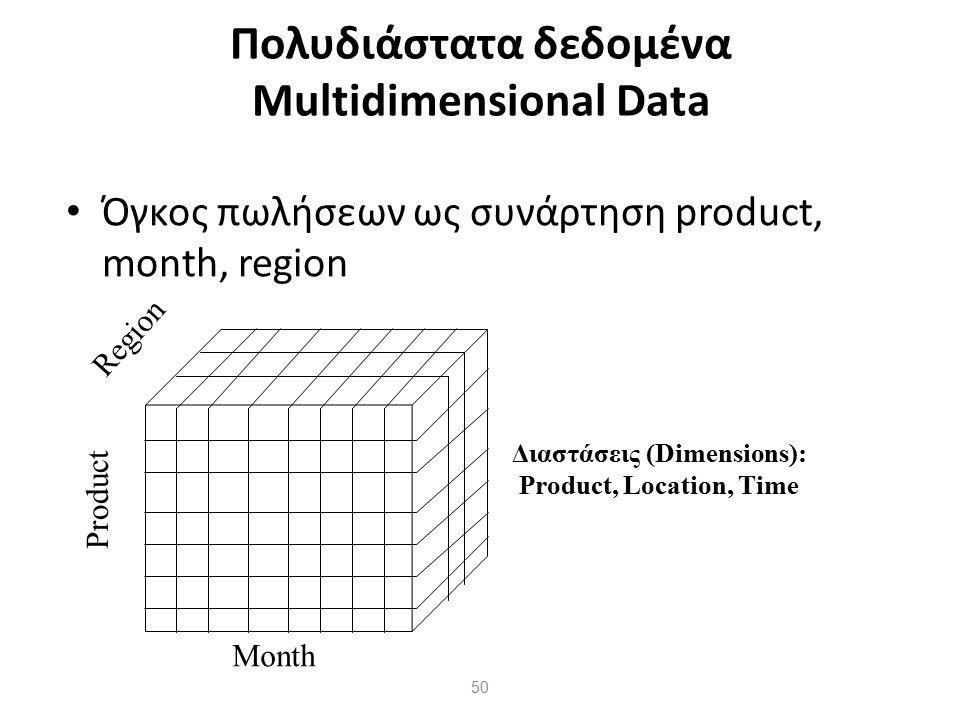 50 Πολυδιάστατα δεδομένα Multidimensional Data Όγκος πωλήσεων ως συνάρτηση product, month, region Product Region Month Διαστάσεις (Dimensions): Produc