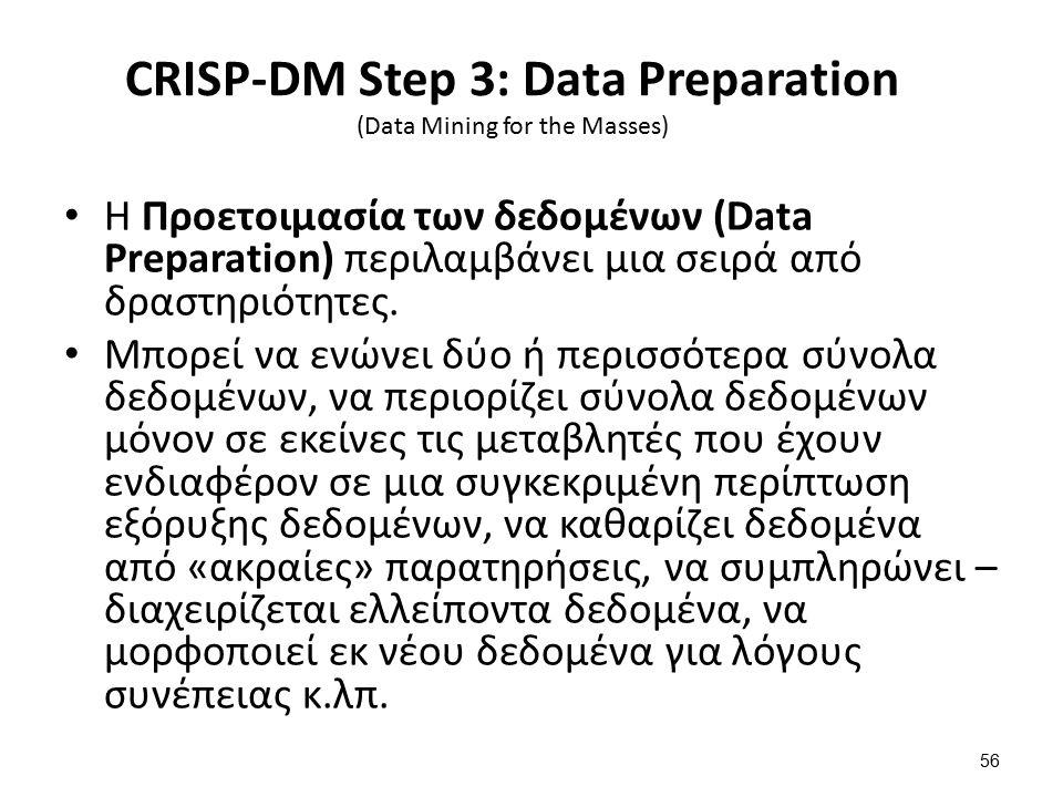 CRISP-DM Step 3: Data Preparation (Data Mining for the Masses) Η Προετοιμασία των δεδομένων (Data Preparation) περιλαμβάνει μια σειρά από δραστηριότητ