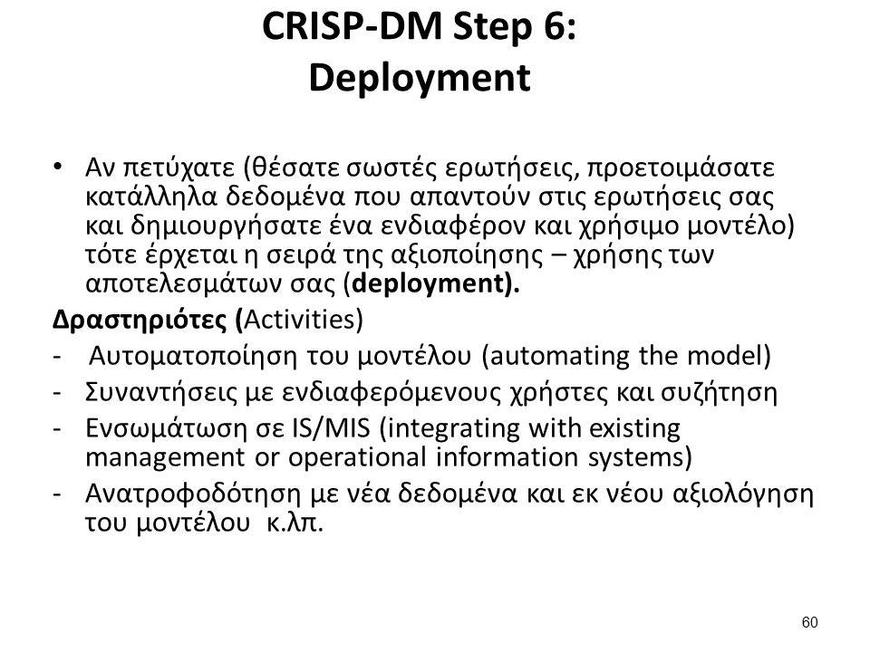 CRISP-DM Step 6: Deployment Αν πετύχατε (θέσατε σωστές ερωτήσεις, προετοιμάσατε κατάλληλα δεδομένα που απαντούν στις ερωτήσεις σας και δημιουργήσατε έ