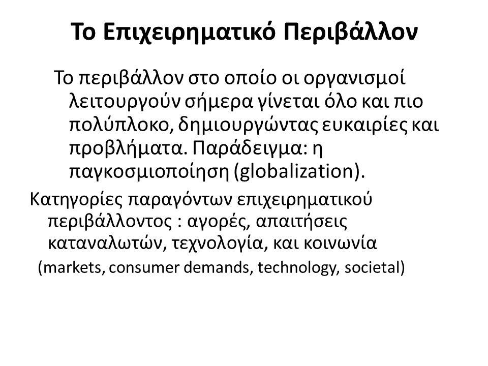 Το Επιχειρηματικό Περιβάλλον Το περιβάλλον στο οποίο οι οργανισμοί λειτουργούν σήμερα γίνεται όλο και πιο πολύπλοκο, δημιουργώντας ευκαιρίες και προβλ