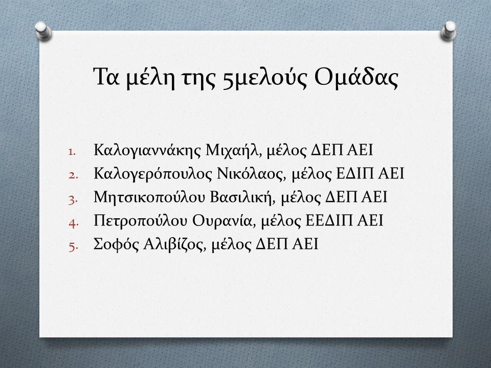 Τα μέλη της 5μελούς Ομάδας 1. Καλογιαννάκης Μιχαήλ, μέλος ΔΕΠ ΑΕΙ 2.