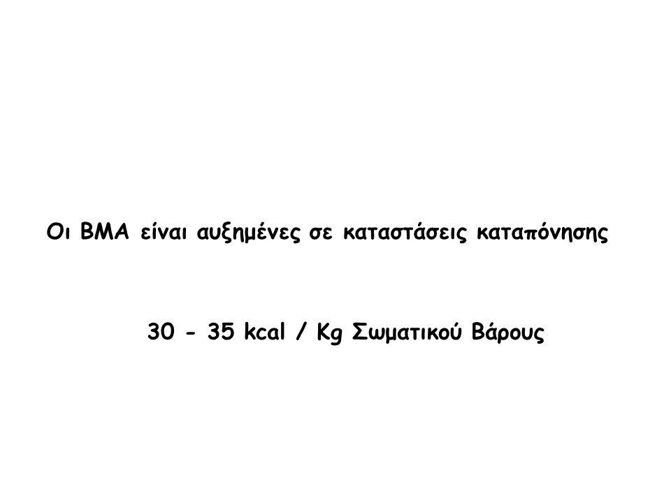 Οι ΒΜΑ είναι αυξημένες σε καταστάσεις καταπόνησης 30 - 35 kcal / Kg Σωματικού Βάρους