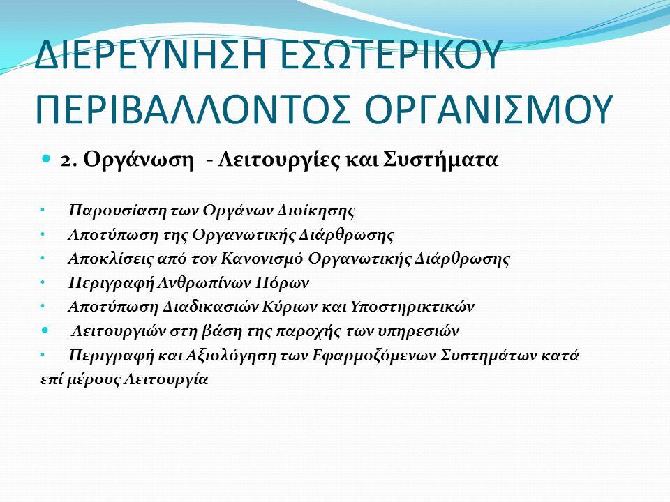 2. Οργάνωση - Λειτουργίες και Συστήματα Παρουσίαση των Οργάνων Διοίκησης Αποτύπωση της Οργανωτικής Διάρθρωσης Αποκλίσεις από τον Κανονισμό Οργανωτικής