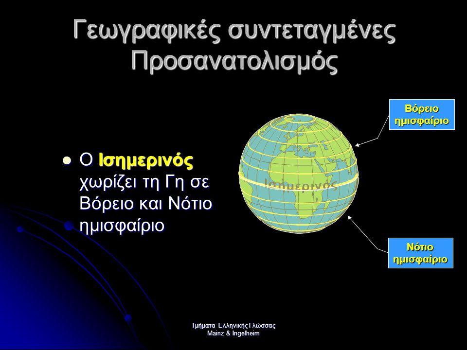 Τμήματα Ελληνικής Γλώσσας Mainz & Ingelheim Γεωγραφικές συντεταγμένες Προσανατολισμός Οι γραμμές που ενώνουν τους πόλους λέγονται μεσημβρινοί Οι γραμμές που ενώνουν τους πόλους λέγονται μεσημβρινοί Ως αρχή θεωρούμε τον 1 ο Μεσημβρινό που περνά από το αστεροσκοπείο του Γκρήνουιτς στη Μ.
