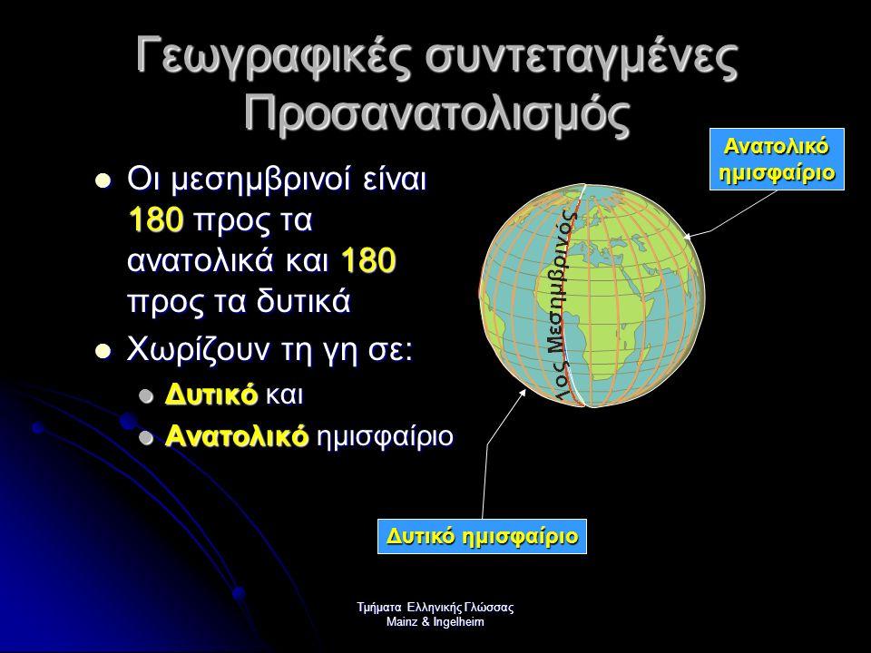 Τμήματα Ελληνικής Γλώσσας Mainz & Ingelheim Γεωγραφικές συντεταγμένες Γεωγραφικό μήκος Γεωγραφικό μήκος Γεωγραφικό πλάτος Γεωγραφικό πλάτος Η απόσταση ενός τόπου από τον Ισημερινό λέγεται γεωγραφικό πλάτος Η απόσταση ενός τόπου από τον 1ο Μεσημβρινό λέγεται γεωγραφικό μήκος