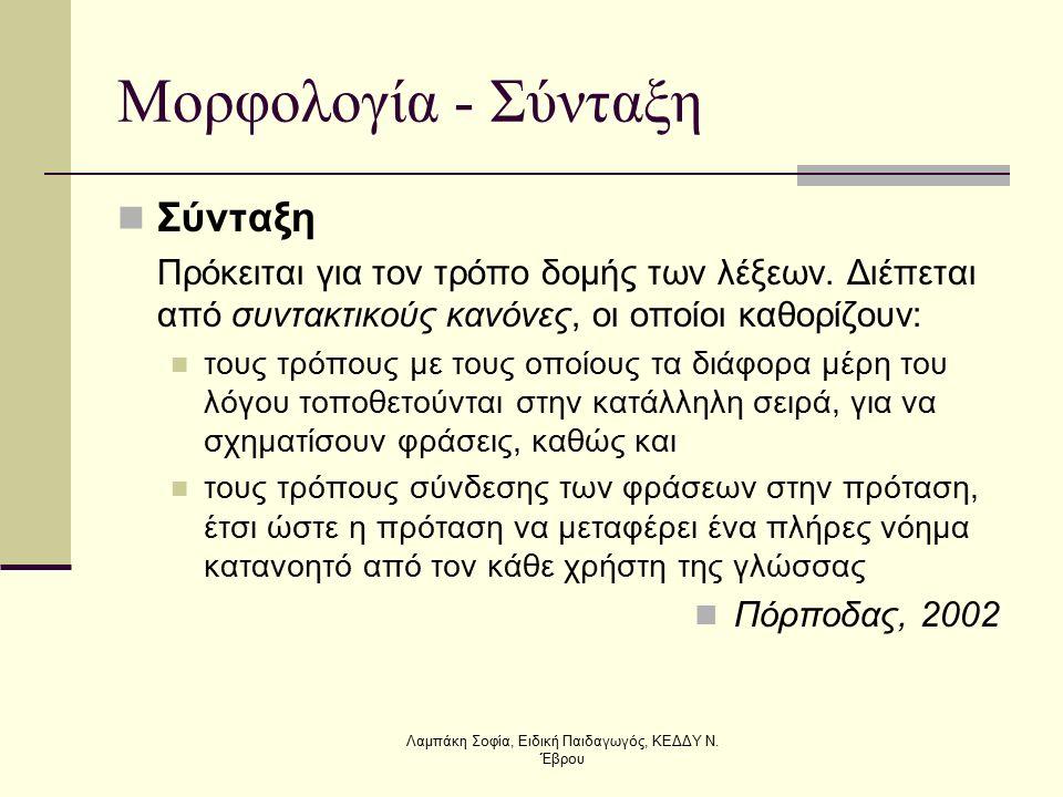 Μορφολογία - Σύνταξη Σύνταξη Πρόκειται για τον τρόπο δομής των λέξεων. Διέπεται από συντακτικούς κανόνες, οι οποίοι καθορίζουν: τους τρόπους με τους ο