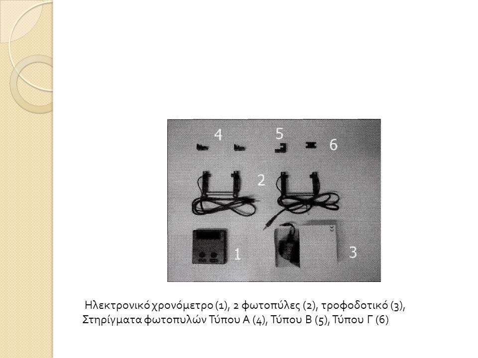 Ηλεκτρονικό χρονόμετρο (1), 2 φωτοπύλες (2), τροφοδοτικό (3), Στηρίγματα φωτοπυλών Τύπου Α (4), Τύπου Β (5), Τύπου Γ (6)