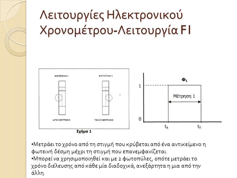 Λειτουργίες Ηλεκτρονικού Χρονομέτρου - Λειτουργία F1 Μετράει το χρόνο από τη στιγμή που κρύβεται από ένα αντικείμενο η φωτεινή δέσμη μέχρι τη στιγμή που επανεμφανίζεται.