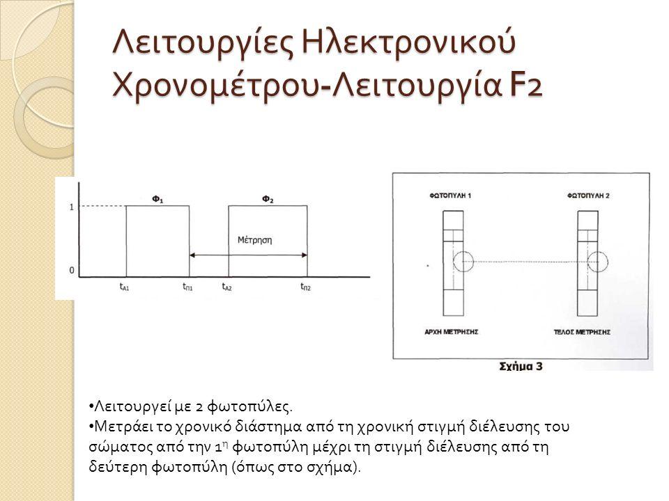 Λειτουργίες Ηλεκτρονικού Χρονομέτρου - Λειτουργία F2 Λειτουργεί με 2 φωτοπύλες. Μετράει το χρονικό διάστημα από τη χρονική στιγμή διέλευσης του σώματο