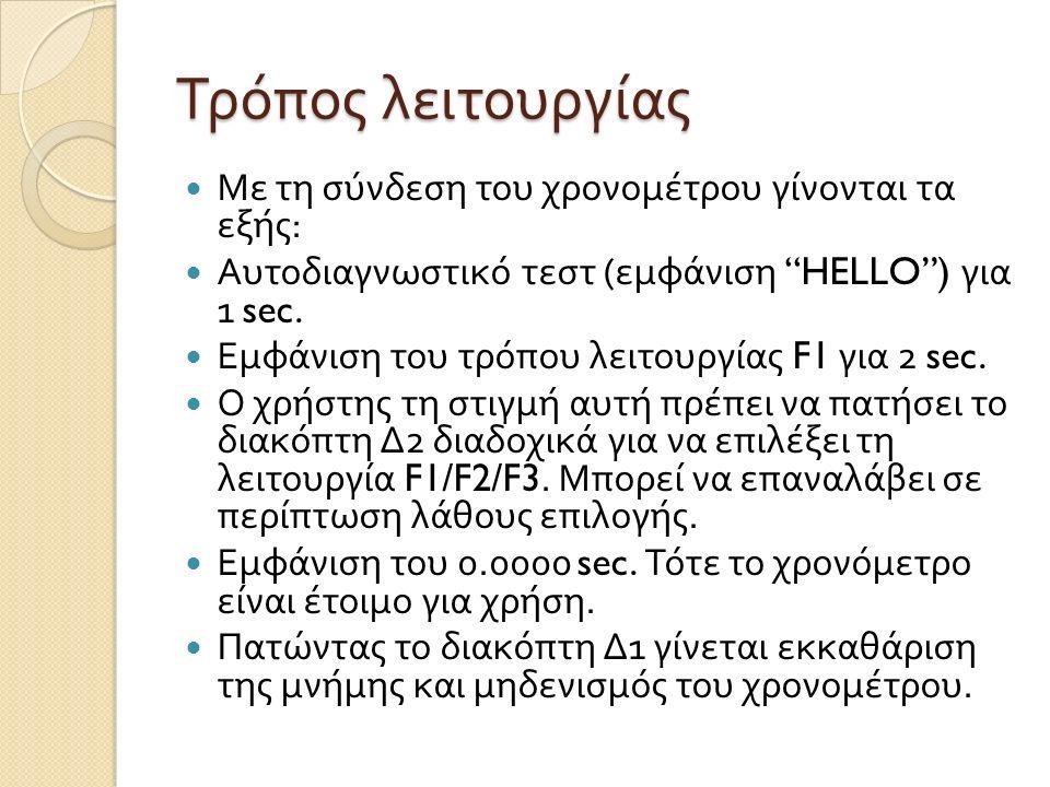Τρόπος λειτουργίας Με τη σύνδεση του χρονομέτρου γίνονται τα εξής : Αυτοδιαγνωστικό τεστ ( εμφάνιση HELLO ) για 1 sec.