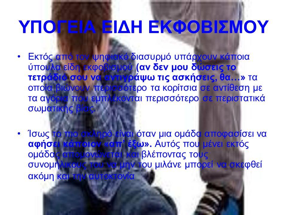 ΥΠΟΓΕΙΑ ΕΙΔΗ ΕΚΦΟΒΙΣΜΟΥ Εκτός από τον ψηφιακό διασυρμό υπάρχουν κάποια ύπουλα είδη εκφοβισμού (αν δεν μου δώσεις το τετράδιό σου να αντιγράψω τις ασκή