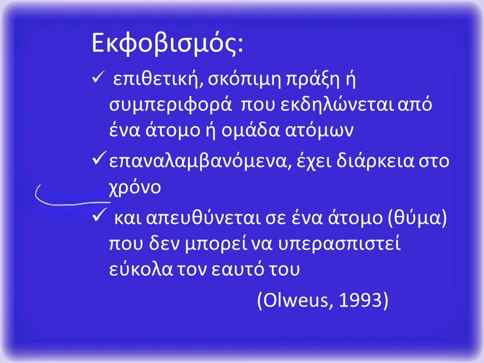 Εκφοβισμός: επιθετική, σκόπιμη πράξη ή συμπεριφορά που εκδηλώνεται από ένα άτομο ή ομάδα ατόμων επαναλαμβανόμενα, έχει διάρκεια στο χρόνο και απευθύνεται σε ένα άτομο (θύμα) που δεν μπορεί να υπερασπιστεί εύκολα τον εαυτό του (Olweus, 1993)