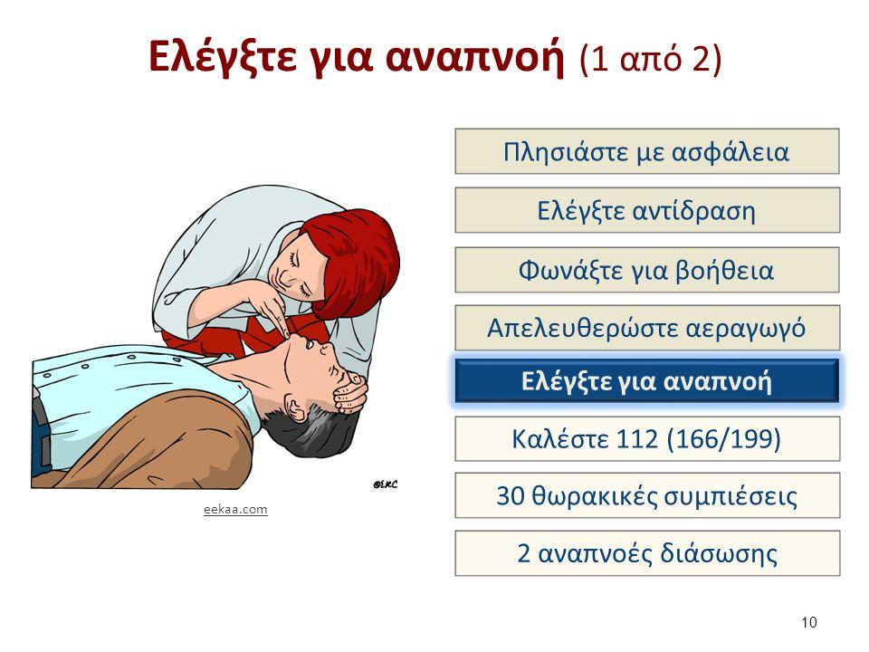 Ελέγξτε για αναπνοή (1 από 2) 10 Πλησιάστε με ασφάλεια Ελέγξτε αντίδραση Φωνάξτε για βοήθεια Απελευθερώστε αεραγωγό Ελέγξτε για αναπνοή Καλέστε 112 (166/199) 30 θωρακικές συμπιέσεις 2 αναπνοές διάσωσης eekaa.com
