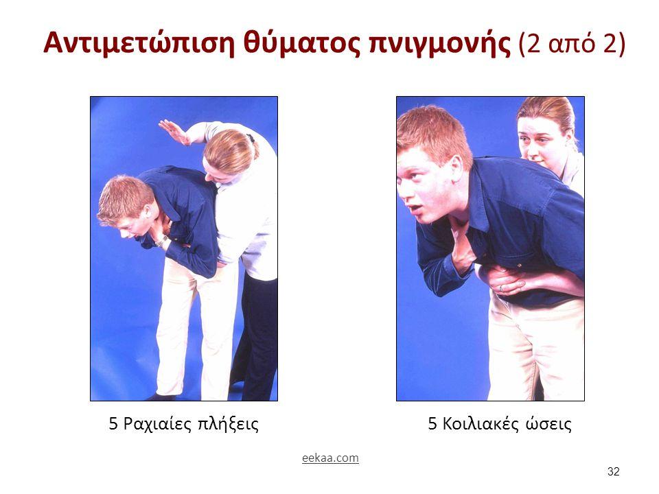 Αντιμετώπιση θύματος πνιγμονής (2 από 2) 32 5 Ραχιαίες πλήξεις5 Κοιλιακές ώσεις eekaa.com